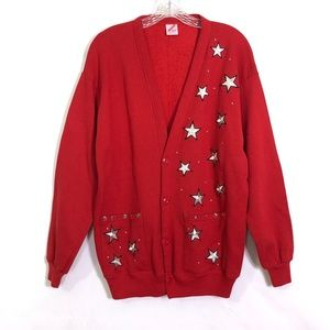 Vintage 80s Holiday Christmas Star Cardigan Red